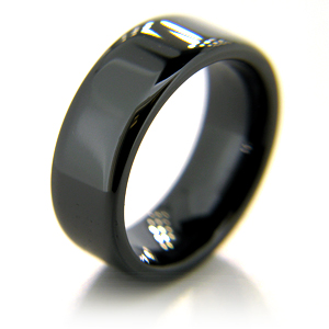 8mm Flat Black Ceramic Rounded Edge Ring