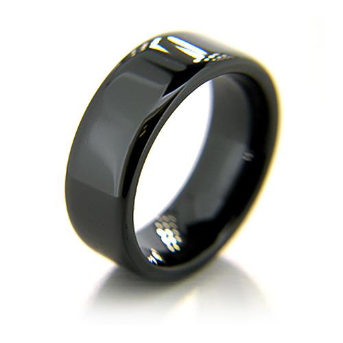 8mm Flat Black Ceramic Rounded Edge Ring