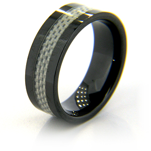 8mm Flat Black Ceramic Ring with Carbon Fiber Inlay