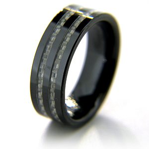8mm Flat Black Ceramic Ring with Two Carbon Fiber Inlays