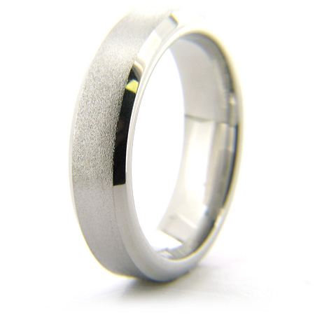 Cobalt Chrome Beveled Edge 6mm Stone Finish Ring