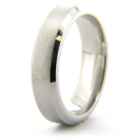 Cobalt Chrome Beveled Edge 6mm Stone Finish Ring