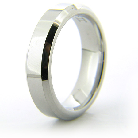 Cobalt Chrome 6mm Beveled Edge Polished Ring