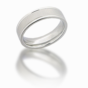 Cobalt Chrome 6mm Satin Center Ring with Rounded Flat Edges