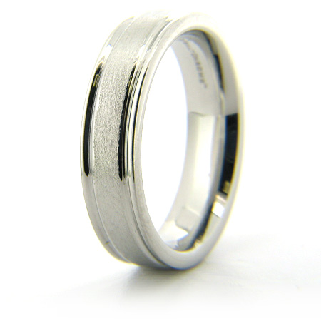 Cobalt Chrome 6mm Stone Finish Ring with Rounded Flat Edges