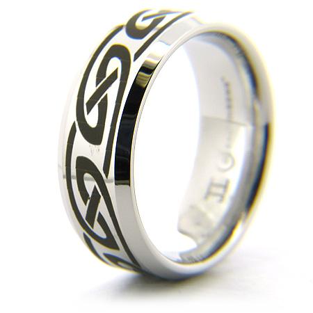 Cobalt Chrome 8mm Beveled Edge Knot Ring