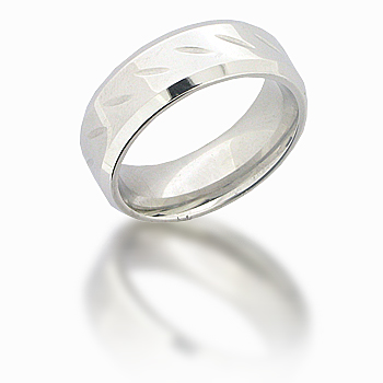 Cobalt Chrome 8mm Beveled Ring with Slash Grooves