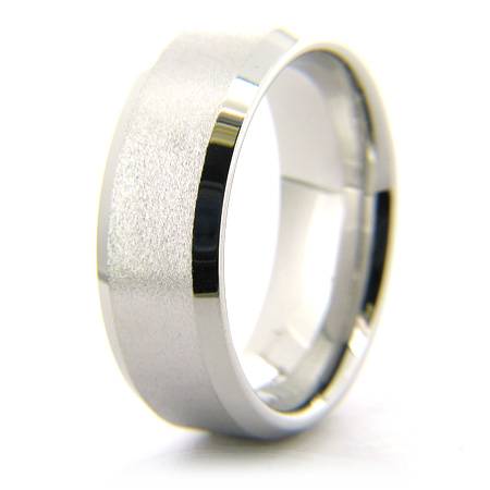 Cobalt Chrome 8mm Beveled Edge Stone Finish Ring