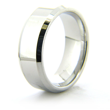 Cobalt Chrome 8mm Beveled Edge Polished Ring