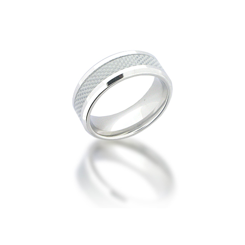 Cobalt Chrome 8mm Beveled Carbon Fiber Ring