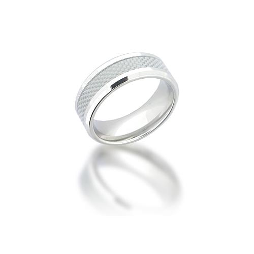 Cobalt Chrome 8mm Beveled Carbon Fiber Ring