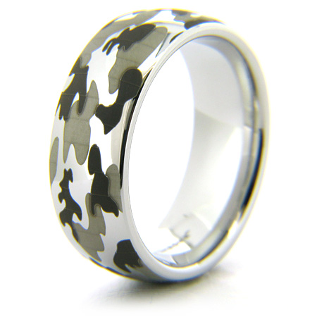 Titanium 8mm Domed Ring with Camo Finish