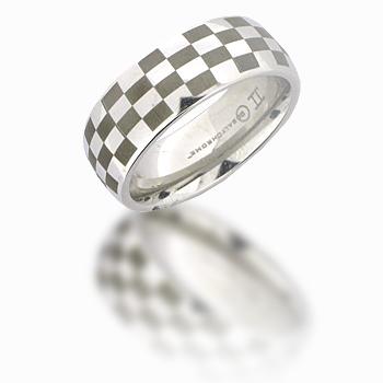 Cobalt Chrome 8mm Domed Checker Ring