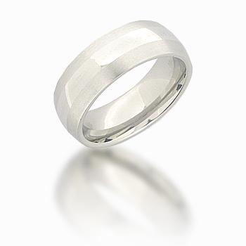 Cobalt Chrome 8mm Domed Ring with Satin Edges