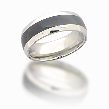 Cobalt Chrome 8mm Domed Black Ceramic Ring