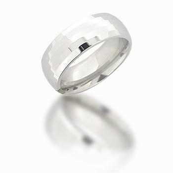 Cobalt Chrome 8mm Domed Bevel Ring