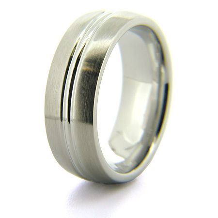 Cobalt Chrome 8mm Satin Finish Ring with Grooved Center