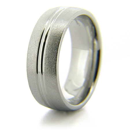 Cobalt Chrome 8mm Stone Finish Ring with Grooved Center