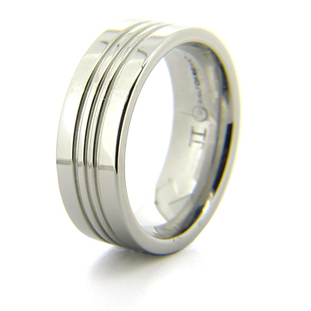 Cobalt Chrome 8mm Ring with 3 Grooves