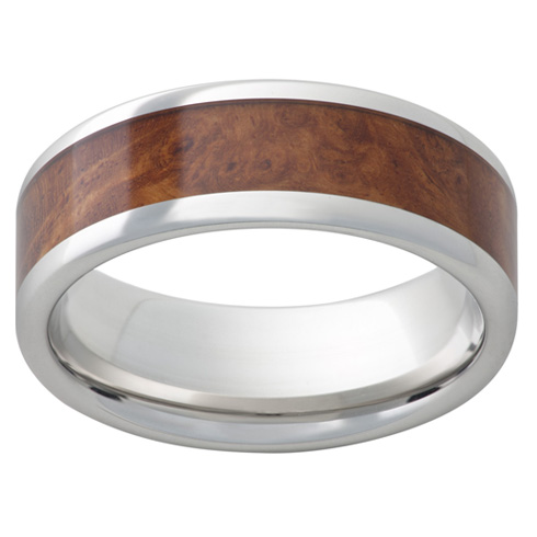 Cobalt Chrome Ring 8mm with Burl Wood Inlay