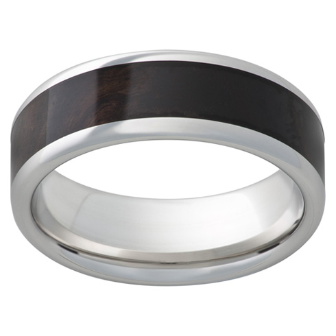 Cobalt Chrome Ring 8mm with African Black Wood Inlay