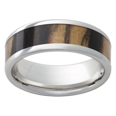 Cobalt Chrome Ring 8mm with Black and Tan Ebony Wood Inlay