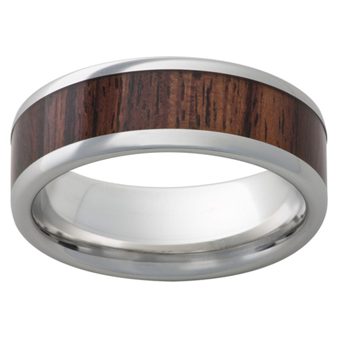 Cobalt Chrome Ring 8mm with Kingwood Inlay