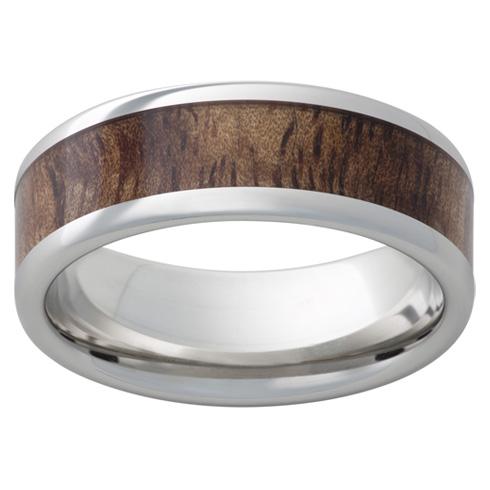 Cobalt Chrome Ring 8mm with Tiger Koa Wood Inlay
