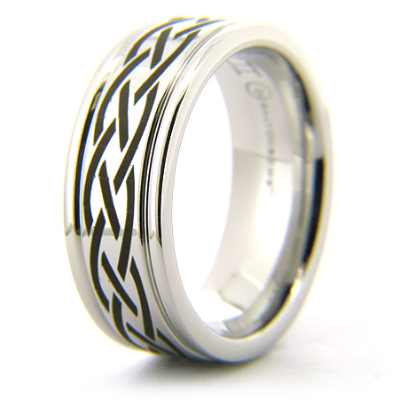 Cobalt Chrome 8mm Ring with Laser Engraved Braids
