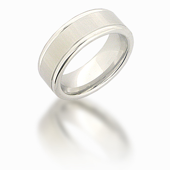 Cobalt Chrome 8mm Satin Center Ring with Rounded Edges