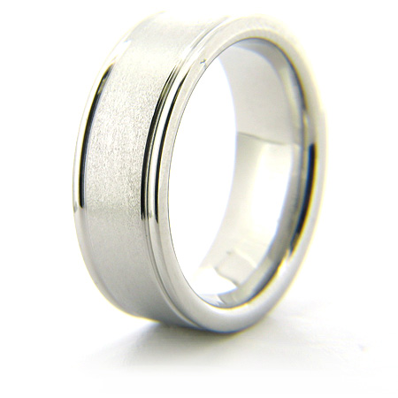 Cobalt Chrome 8mm Stone Finish Ring with Rounded Edges