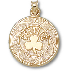 14kt Yellow Gold 3/4in Boston Celtics Basketball Pendant