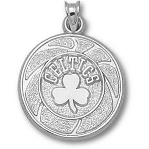 Sterling Silver 3/4in Boston Celtics Basketball Pendant