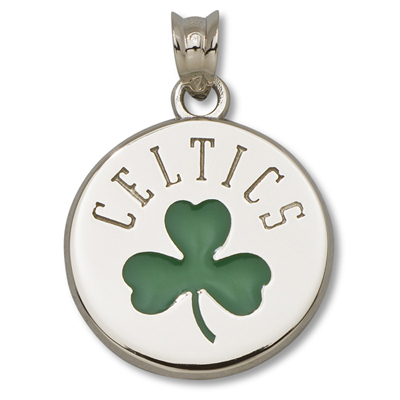 Sterling Silver 5/8in Boston Celtics Shamrock Pendant
