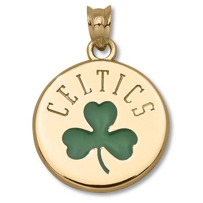 10kt Yellow Gold 5/8in Boston Celtics Shamrock Pendant