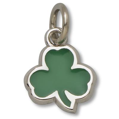 Sterling Silver 3/8in Celtics Shamrock Green Enamel Pendant
