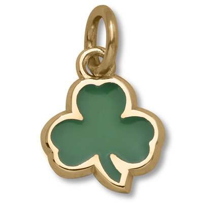 14kt Yellow Gold 3/8in Celtics Shamrock Green Enamel Pendant