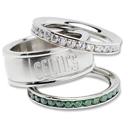 Boston Celtics Team Logo Crystal Stacked Ring Set