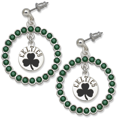 Boston Celtics Spirit Crystal Logo Earrings