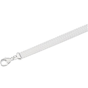 Sterling Silver 7in Solid Flat Mesh Bracelet 8mm