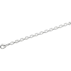 Sterling Silver 7in Flat Cable Chain Bracelet 6.75mm