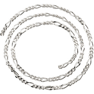 7in Figaro Chain 3.5mm - Sterling Silver