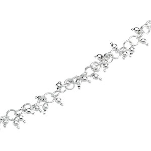 7 1/2in Sterling Silver Bracelet with Hanging Beads