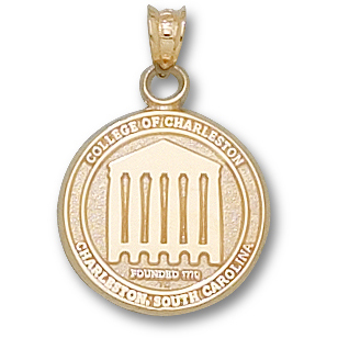 14kt Yellow Gold 5/8in College of Charleston Seal Pendant