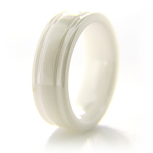 White Ceramic 7mm Flat Ring with Channels