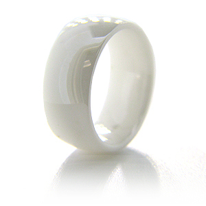 8mm Domed Polished White Ceramic Ring