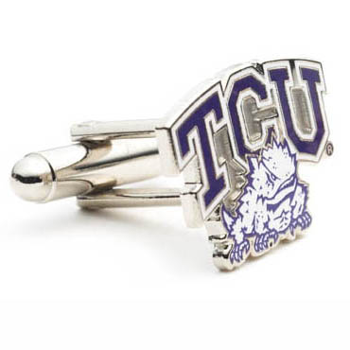Stainless Steel TCU Horned Frogs Cufflinks