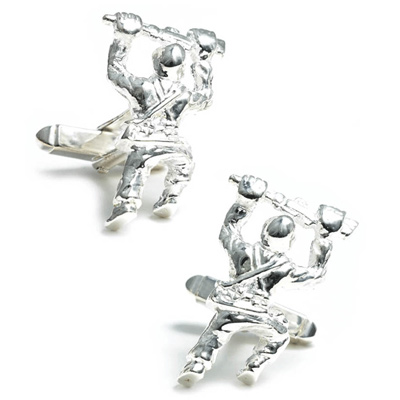 Sterling Silver Crawling Soldier Cufflinks