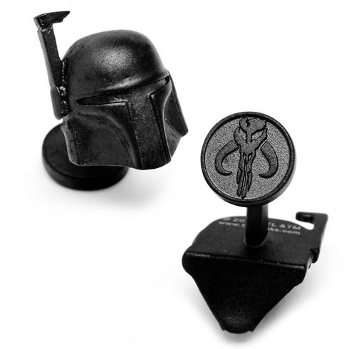 Matte Black 3-D Boba Fett Helmet Cufflinks