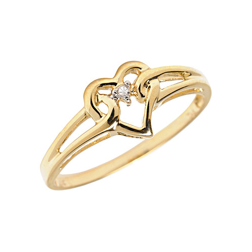 10kt Yellow Gold .01 ct Diamond Accent Heart Promise Ring